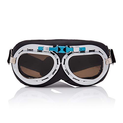 Vintage Silver mit Braunen Classic Style Motorradhelm und Steampunk Fliegerbrillen Retro Cyber Brille Victorian Gothic Punk Eyewear Schweißen Rave Rivet Cosplay Kupfer Rustikale Linsen Kostüm ()