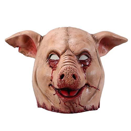 Horror Schwein Overhead Tier Maske Latex Schwein Maske Halloween Kostüm Scary Saw Schwein Maske Full Head Horror Evil Animal Prop (Schwein Saw Kostüm)
