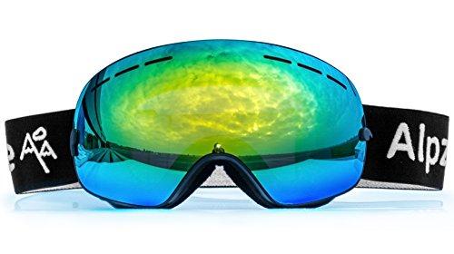 Alpzone Skibrille Snowboardbrille Goggle voll verspiegelt Antifog mit Wechselglas Etui