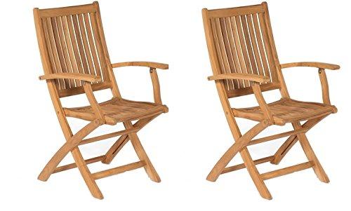 Colourliving® Set de 2Fauteuil pliant chaise pliante de jardin en bois chaise avec accoudoirs bois d'acacia