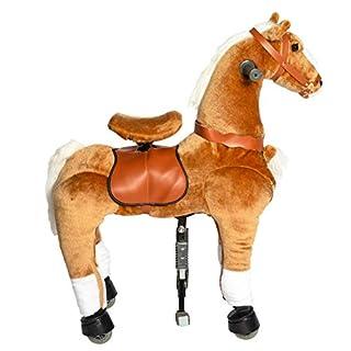 Galoppo Reitpferd Pony Pferd auf Rollen Geschenk für Jungen und Mädchen ab 3 Jahren zum mechanischen Reiten indoor und outdoor als rollendes Schaukelpferd und Kuscheltier Spielzeug - Braun - Medium