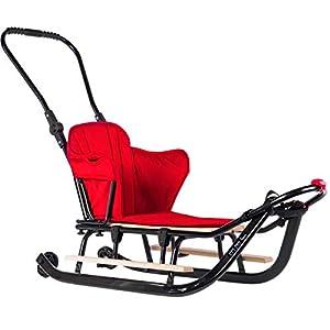 123home24.com Schlitten für Kinder Rückenlehne und Schiebegriff Holz Kinderschlitten + Matratze Viele Farben