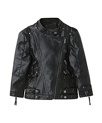 YoungSoul Kinder Jungen Mädchen Motorrad Kunst Lederjacke Frühling & Herbst mit asymmetrischer Reißverschluss Schwarz 11-12T