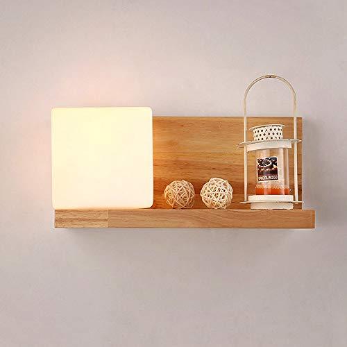 Moddeny Lámpara de pared de madera cuadrada creativa Lámpara de estilo japonés Cubo Sólido Dormitorio...