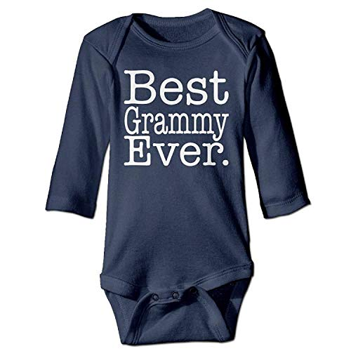 MSGDF Unisex Toddler Bodysuits Best Grammy Ever Ladies Girls Babysuit Long Sleeve Jumpsuit Sunsuit Outfit Navy -