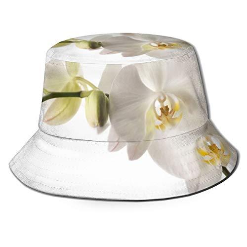 Pipaxing Weiße Orchidee Blume Blumen Pttern1 Unisex 100% gewaschener Baumwolle Eimer Hut Sommer Outdoor Cap -