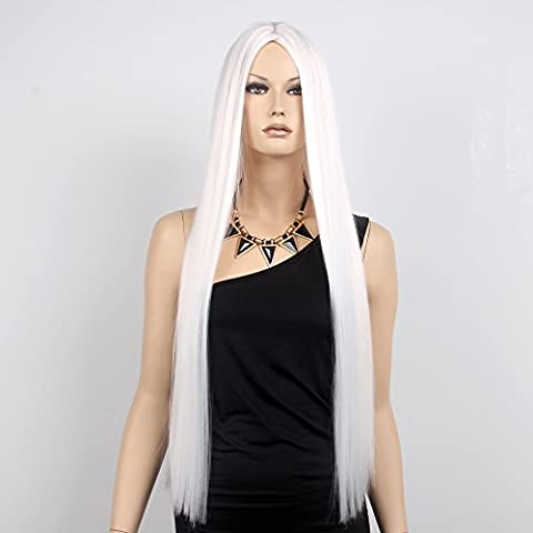 stfantasy Perücken für Frauen Extra Lange Gerade Hitzebeständiges Synthetikhaar 81,3cm 290g Full Wig peluca frei Hair Net + Clips, Weiß