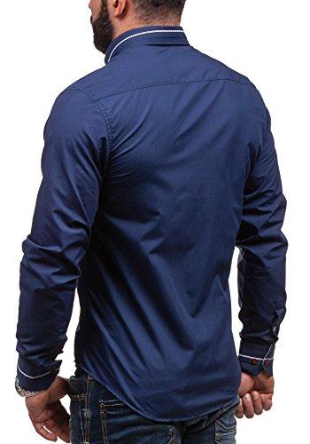 BOLF - Chemise casual – avec manches longues – BOLF 6870 - Homme Bleu foncé