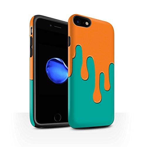 STUFF4 Matte Harten Stoßfest Hülle / Case für Apple iPhone 7 / Pack 5pcs / Lack-Streuung Kollektion Orange/Türkis