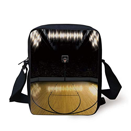y Basketball Arena Competition Game Win Champion Success Theme,Light Coffee Black Print Kids Crossbody Messenger Bag Purse ()