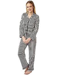 4638e841fd Ladies 2 Piece Satin Pyjamas - Colour - Ivory Black Striped Size 8 - 22