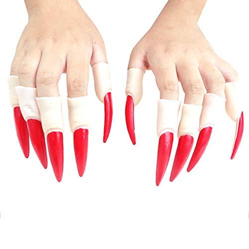 Halloween Schwarz Rot Hexe Fingernagel Krallen Lustige Requisiten Falsche Nagel Sets für Kinder Erwachsene Phantasie Kostüm Party Cosplay 10 stücke