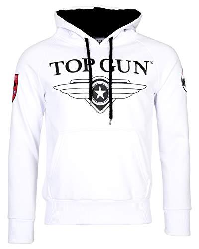 Top Gun Herren Sweatshirt Kapuzenpullover TG2019-1012 (L, White)