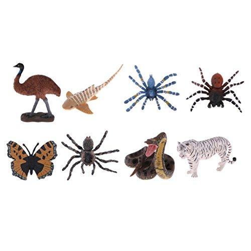 MagiDeal 8pcs/Set Lebensechte Tierfigur Figur Figur Modell aus Kunststoff Lernspielzeug für Kinder und Baby (Python-sammlung)
