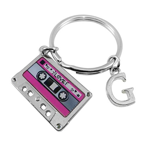 Cassette Tape Keyring with personalised initial