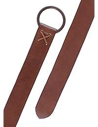 Brauner Mittelalter-Ledergürtel mit Messingring, ca. 190 cm lang - LARP Gürtel aus Leder