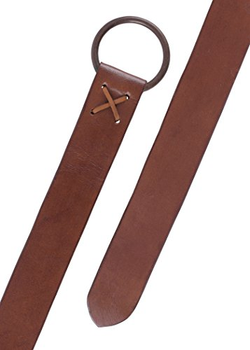 Mittelalter Gürtel aus Leder braun mit Messingring, ca. 150 cm lang - Wikinger LARP Ledergürtel von Battle-Merchant