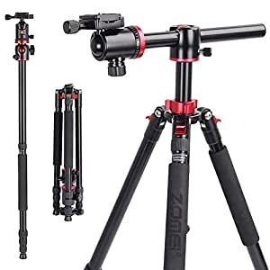 Zomei Camera Tripod Portable Magnesium Aluminium Monopod 4 Section Overhead Professional Tripod with Ball Head Quick Release Plate for Canon Nikon Sony DSLR Cameras DV Black