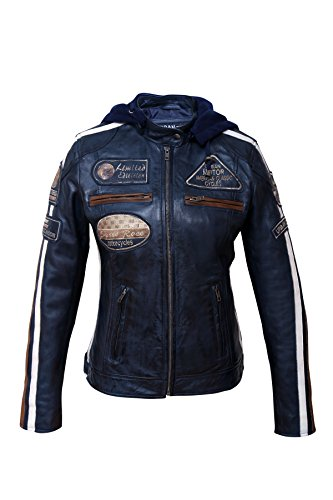 Preisvergleich Produktbild Damen Motorradjacke mit Protektoren, Navy Blue, Große: L