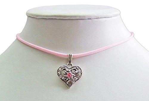 Kinder Trachten Halskette Sira mit Edelweiß Herz - Rosa - Zauberhafter Schmuck für Mädchen zu Dirndl und Kleidern