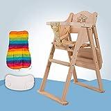 ZLMI Kindertisch Stuhl Massivholz Falten Multi-Funktion EIN Kleinkind Hotel Esstisch Kinder 0-6 Jahre Alt (Nicht Einstellbare Höhe),Beige,B