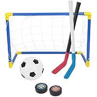 2 in 1 Porta per Sport con Pallone da Calcio Set da Hockey su Ghiaccio con Pompa Manuale miglior Regalo per i Bambini Rehomy Set di Giocattoli da Calcio per Bambini
