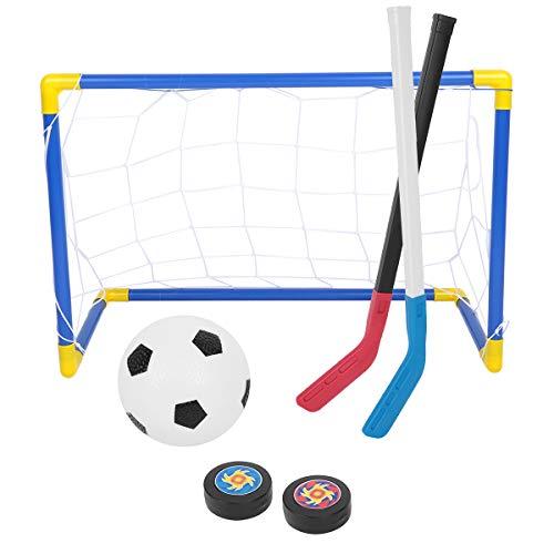 Tianhaik 2 in 1 Kindersportspielzeughockeyfußballsatz-Zielnetz Eishockeyschläger mit Handpumpe