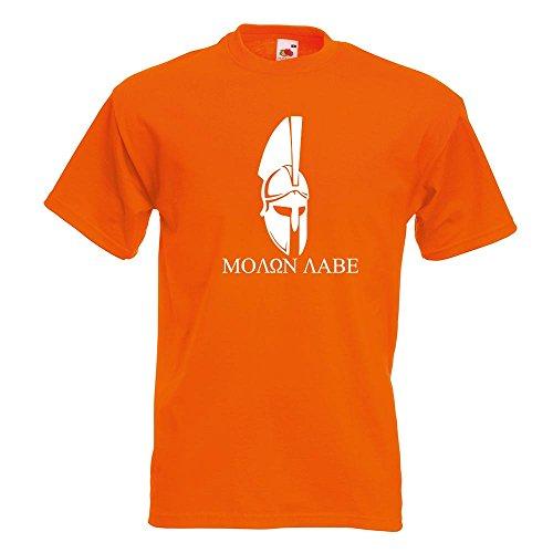 KIWISTAR - Sparta 300 Helm Molon labe T-Shirt in 15 verschiedenen Farben - Herren Funshirt bedruckt Design Sprüche Spruch Motive Oberteil Baumwolle Print Größe S M L XL XXL Orange