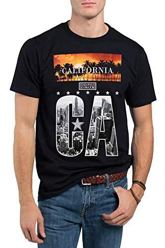 Doby Herren T-Shirt California State Flag Bear - Schwarz - Mittel