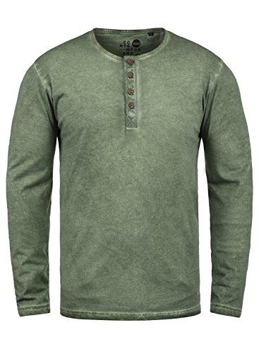 SOLID Timur Herren Longsleeve Langarmshirt mit Grandad- Ausschnitt aus 100% Baumwolle Slim Fit Meliert, Größe:S, Farbe:Climb Ivy (3785) (V-ausschnitt Ivy)