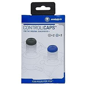 snakebyte PS4 CONTROL:CAPS (2x schwarz & 2x blau) – für Dualshock 4 Controller – für PlayStation 4
