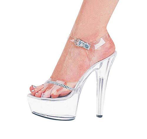 els Damen Plattform Kleid Sandale, Damen Pleaser Heels für Pole Dance Pumps Sandale Stripper Schuhe,Silver,34EU ()