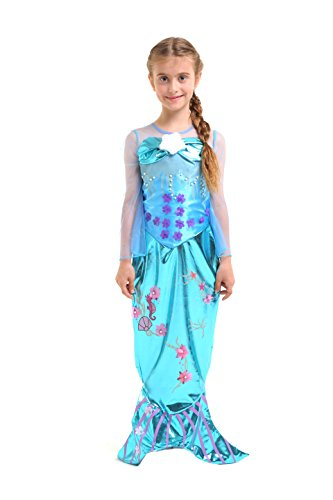 Meerjungfrau Kostüm Mädchen - Kinderkostüm Nixe - Mermaid - Blau - Gr. 140 - 8-10 Jahre (Herstellergröße: L) (Die Kleine Meerjungfrau Kostüme Für Kinder)
