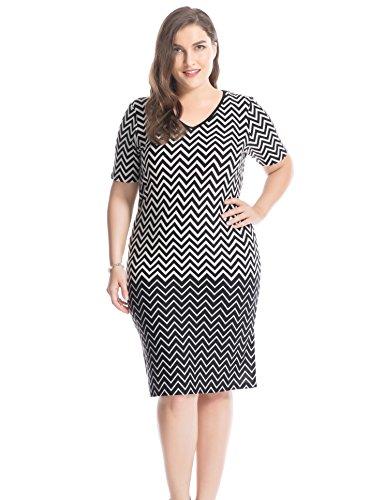 Stretch Denim Tank Dress (Chicwe Damen V-Ausschnitt Kurze Ärmel Border Drucked Große Größen Kleid 50, Schwarz)