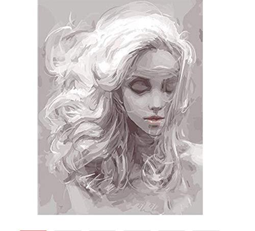 YuHanWei Digitale Malerei Graue Mädchen DIY Digitale Malen Nach Zahlen Kits Acrylgemälde Mit Inneren Holzrahmen Für Einzigartige Kinder Geschenk Kunstwerk