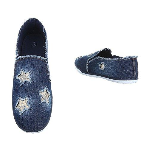 Slipper Damenschuhe Low-Top Moderne Ital-Design Halbschuhe Blau