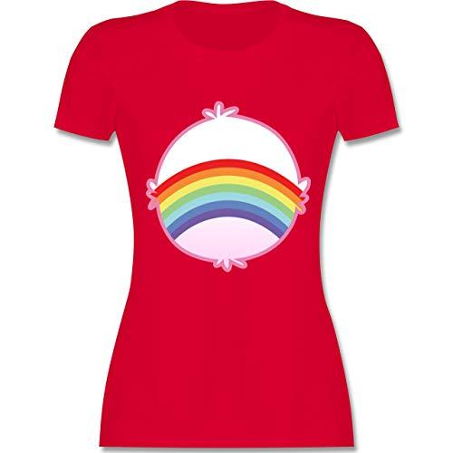 Karneval & Fasching - Cartoon-Bärchis Regenbogen - XL - Rot - L191 - Damen Tshirt und Frauen T-Shirt (Rot Glücksbärchi Kostüm)