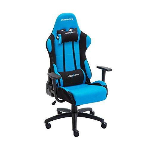DEERHUNTER Gaming Chair Racing Silla de Oficina, Respaldo Alto Ergonomic Computer Chair, 360 Degree Giratorio Inclinable Grid Fabric Chair con Reposacabezas y Soporte Lumbar, Azul