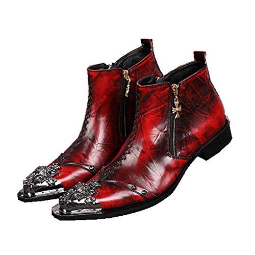 Herren Stiefeletten Lederstiefel Cowboy Stiefel Männer Cowboystiefel Knöchel Stiefel Metall Spitzschuhe Rot Formal Hochzeit Abend Party Nachtclub Größe 37-46, rot -
