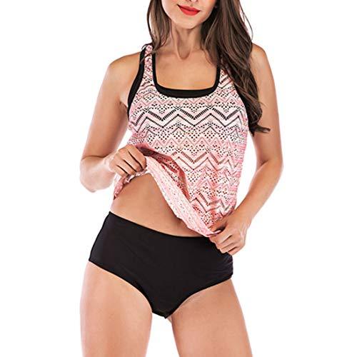 GWELL Damen Mesh Hollow Tankini Set mit Slip Große Größen Bauchweg Bademode Swimsuit Rosa XL -