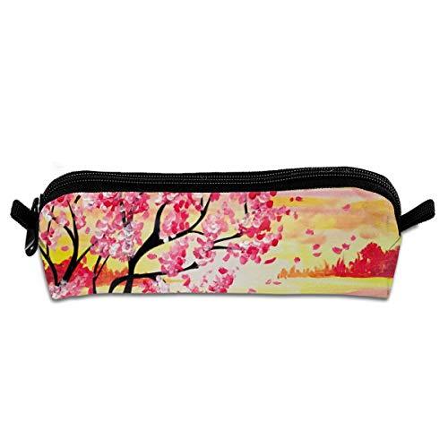 Pengyong Sunset Cherry Blossom Paint Student Federmäppchen mit Reißverschluss, kleine Kosmetiktasche, Make-up-Tasche, Münzbörse, für Kinder, Jugendliche und andere Schulbedarf