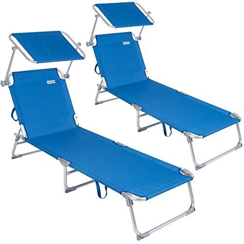 Casaria lettino prendisole pieghevole 2 pezzi ibiza con tetto telaio metallo 190x59x29cm lettino a sdraio mare spiaggia piscina giardino blu