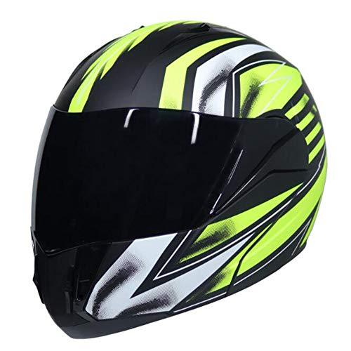 ZDHG Casco Moto,Casco Moto modulare a Faccia Aperta, personalità Cool, Doppio Parasole e Casco Unisex per Le Strade Fuoristrada,S