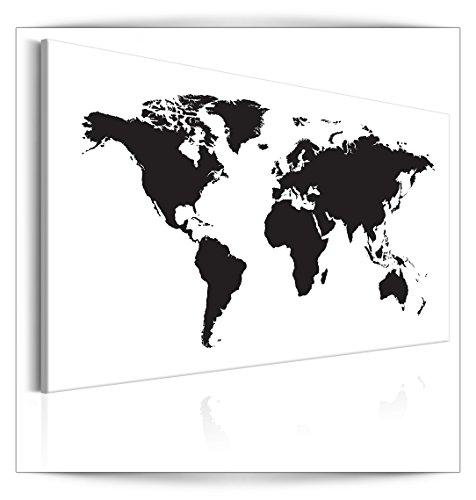 Karte Schwarz Und Weiß (decomonkey | Bilder Weltkarte 90x60 cm | 1 Teilig | Leinwandbilder | Bilder | Vlies Leinwand | Bilder | Wand | Bild aud Leinwand | Wandbild | Kunstdruck | Wanddeko | weiß schwarz | Welt Karte Landkarte Kontinente | DKB0257a1S)