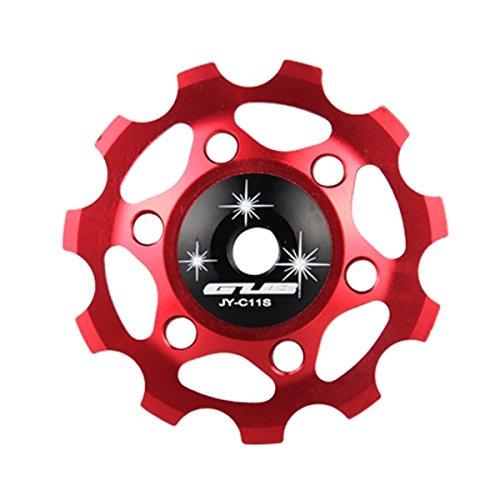 MaMaison007 Ciclismo posteriore Guida Deragliatore ruota di bicicletta Mech deragliatore puleggia ruote in lega di alluminio 11T -Red