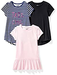 Spotted Zebra Short-Sleeve Tunic T-Shirts Niñas, Pack de 3