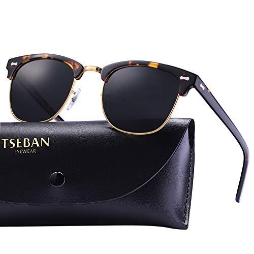 TSEBAN Retro Sonnenbrille Damen Polarisierte Outdoor Brille UV400 Schutz für Fahren Golf Angeln, Acetat Rahmen (Damen, Halbrahmen - Schildpatt)