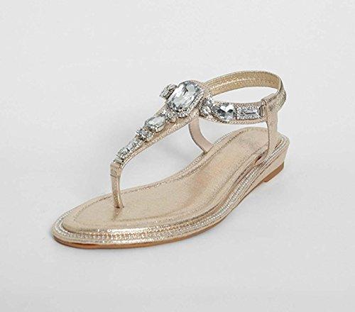 Sandalo diamante in cuoio semplice T-Strap Tanga Flip Flop Flats Open Toe Sandali Party Party Gold