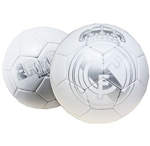 Real Madrid – Gran de balón de fútbol de color plateado y blanco real Madrid