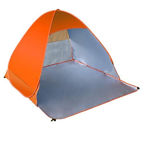 Simanli Zelt 4 Wasserdicht Wurfzelt Anti UV, Pop up Strandmuschel UV Schutz für 2-3 Personen Outdoor Aktivitäten Wandern Camping Reisen Beach Angeln Oder Garten. (Orange Red)